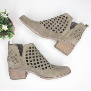 Crown Vintage Taupe Laser Cut Suede Booties